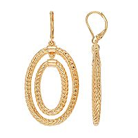Dana Buchman Textured Double Oval Drop Hoop Earrings