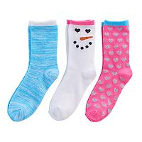 Girls 4-16 3 pkSnowman Crew Socks