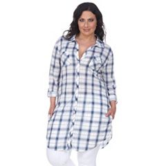Plus Size White Mark Plaid Flannel Tunic