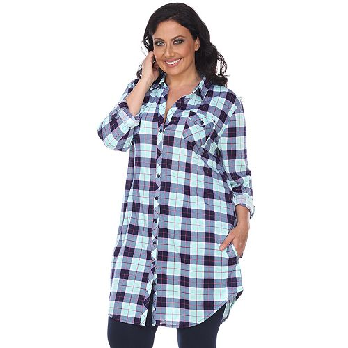 Plus Size White Mark Plaid Flannel Tunic