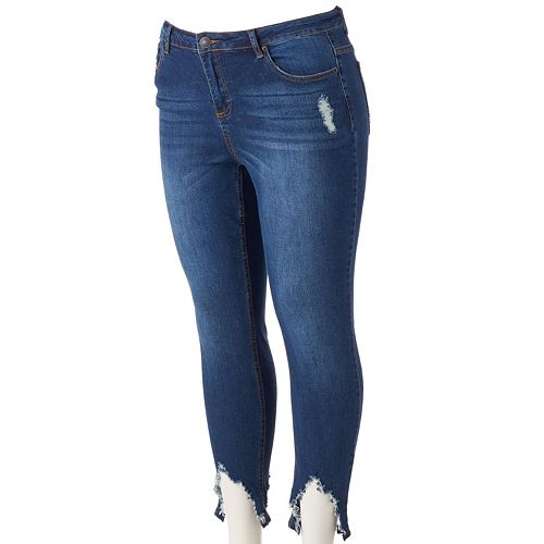 Juniors' Plus Size Almost Famous Shark-Bite Ankle Skinny Jeans