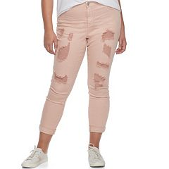 Juniors' Plus Size Almost Famous Roll Cuff Ripped Jeans
