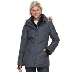 Women's Free Country Hooded Faux-Fur Trim Down Jacket