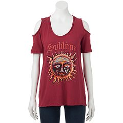 Juniors' Sublime Cold Shoulder Graphic Tee