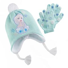 Disney's Frozen Elsa Girls 4-16 Hat & Gloves Set
