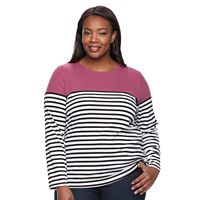Plus size Croft & Barrow® Crewneck Long-Sleeve Tee