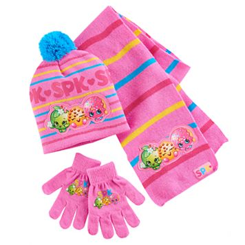 Girls 4-16 Shopkins Apple Blossom, Kooky Cookie & D'Lish Donut Hat, Gloves & Scarf Set