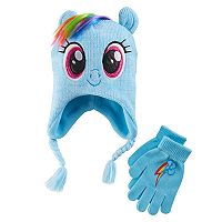 Girls 4-16 My Little Pony Rainbow Dash 3D Ears & Mane Hat & Gloves Set