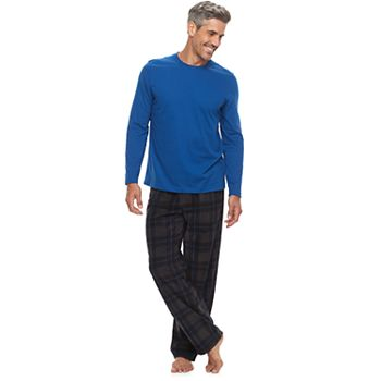 6 Mens 2Pc. Solid Tee and Microfleece Pants Set