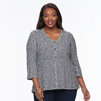 Plus size Croft & Barrow® Textured Swing Cardigan