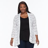 Plus size Croft & Barrow® Chevron Open-Front Cardigan