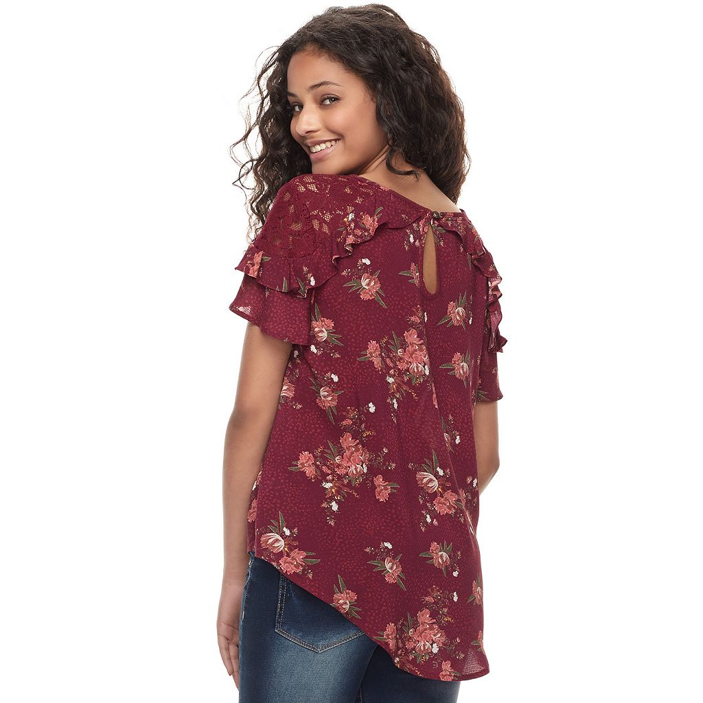 Juniors' Rewind Lace Inset Ruffle Sleeve Top