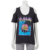 Juniors' Def Leppard Cold Shoulder Graphic Tee