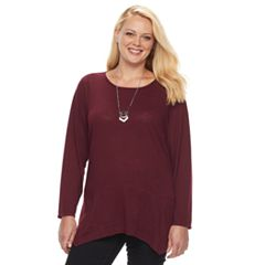 Plus Size Apt. 9® Scalloped Hem Hatchi Top with Necklace