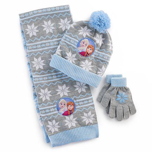 Disney Girls Frozen Pom Pom Hat /& Glove Set
