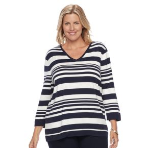 Plus size Croft & Barrow® V-Neck Pullover