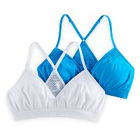 Girls 7-16 SO® 2 pkCrochet Racerback Seamless Triangle Bralettes
