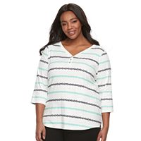 Plus size Croft & Barrow® Solid V-neck Tee