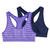 Girls 7-16 SO® 2-pk. Striped & Solid Seamless Sport Bras