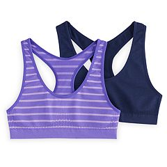 Girls 7-16 SO® 2 pkStriped & Solid Seamless Sport Bras