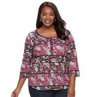 Plus size Croft & Barrow® Striped Ribbed Top