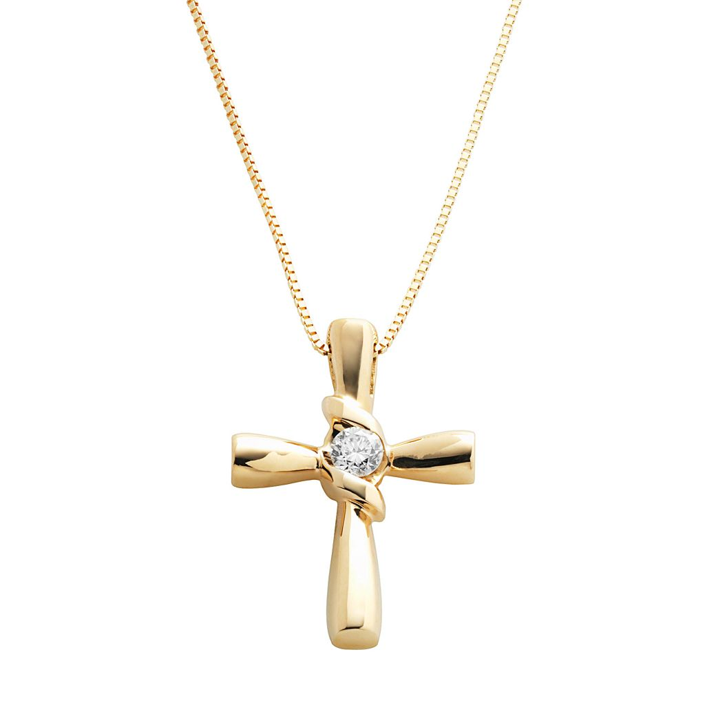 Sirena Collection 14k Gold 1/10-ct. T.W. Diamond Cross Pendant