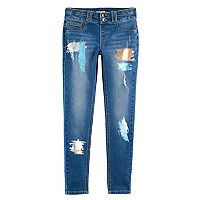 Girls 7-16 & Plus Size SO® Double-Button Foil Paint Skinny Jeans