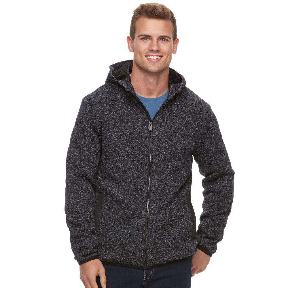 Apt. 9® Marled Sherpa-Lined Sweater Fleece Hooded Jacket