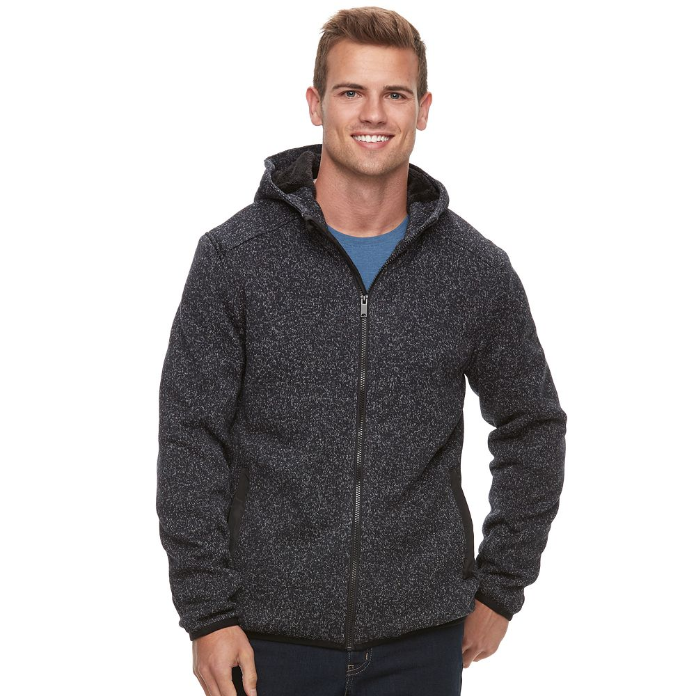 Apt. 9® Marled Sherpa-Lined Sweater Fleece Hooded Jacket