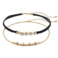 Tube Bead & Simulated Crystal Faux-Suede Double Strand Choker Necklace Set