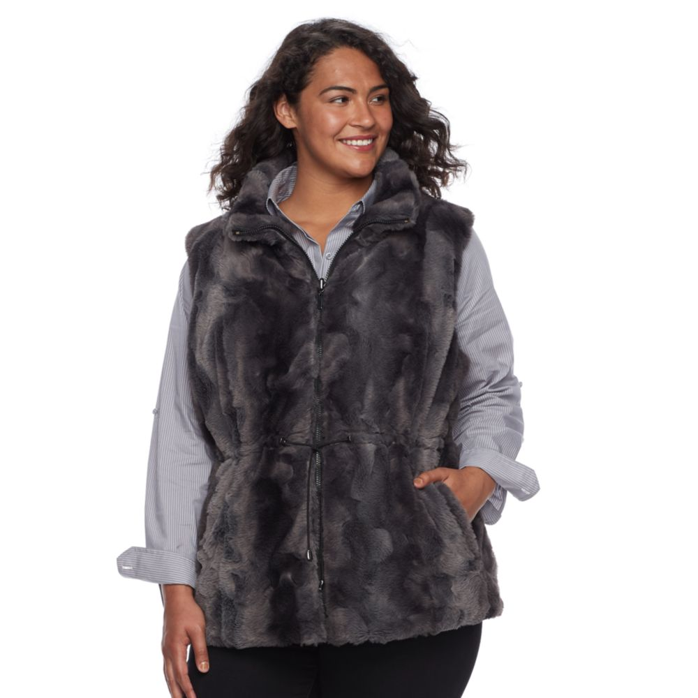 size gallery reversible faux-fur vest