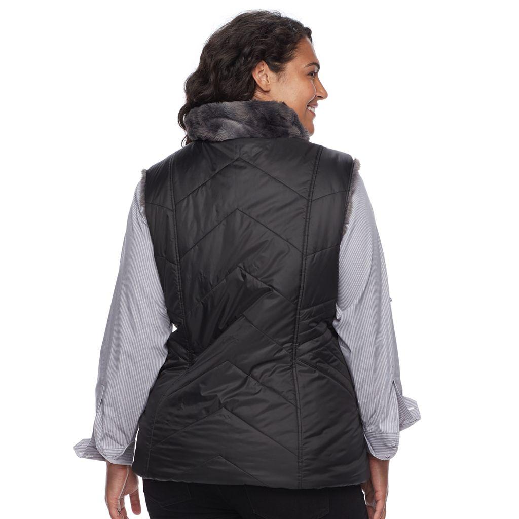 Plus Size Gallery Reversible Faux-Fur Vest
