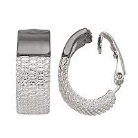 Dana Buchman Two Tone Mesh Clip On Hoop Earrings