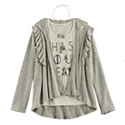 Girls 7-16 Self Esteem Ruffled Cardigan & Foil Graphic Tank Top with Necklace