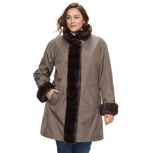 Plus Size Gallery Faux-Fur Trim Jacket