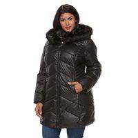 Plus Size Gallery Hooded Faux-Fur Trim Puffer Jacket
