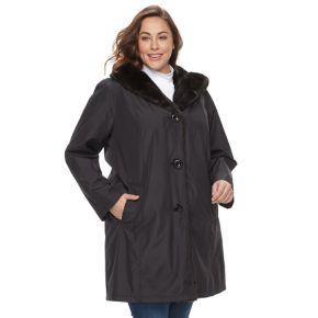 Plus Size Gallery Faux-Fur Trim Long Jacket