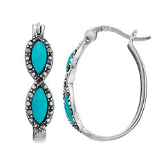 Tori Hill Sterling Silver Simulated Turquoise & Marcasite Oval Hoop Earrings