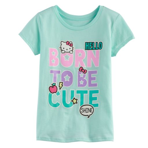 "Girls 7-16 Hello Kitty® ""Born to be Cute"" Glitter Graphic Tee"