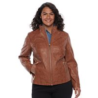 Plus Size Gallery Faux-Leather Moto Jacket