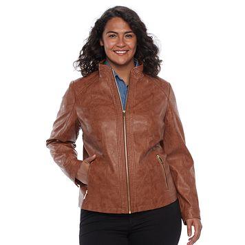 Plus Size Gallery Faux-Leather Moto Jacket