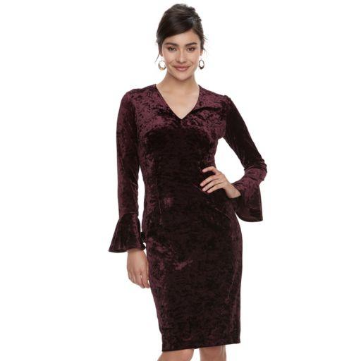 Petite Suite 7 Velvet Midi Sheath Dress