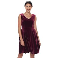 Petite Suite 7 Velvet Fit & Flare Dress