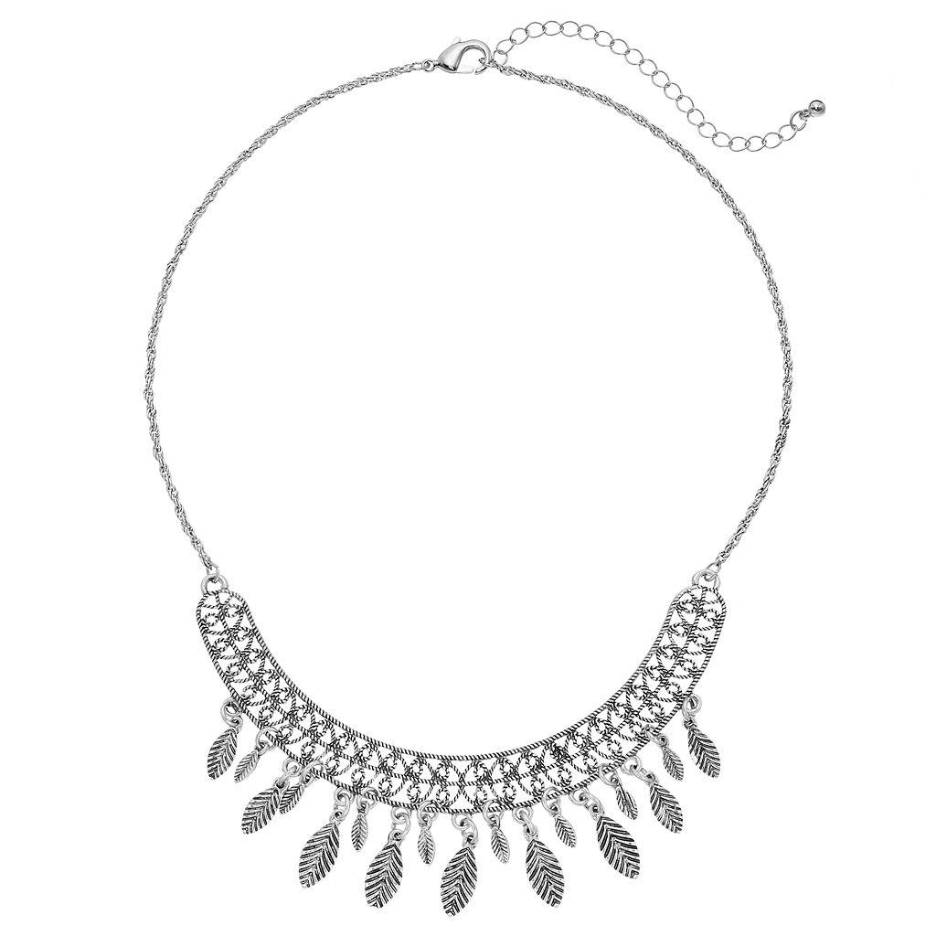 Antiqued Leaf Fringe Necklace