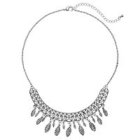 Antiqued Leaf Fringe Necklace