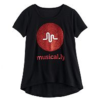 Girls 7-16 musical.ly High-Low Glitter Graphic Tee