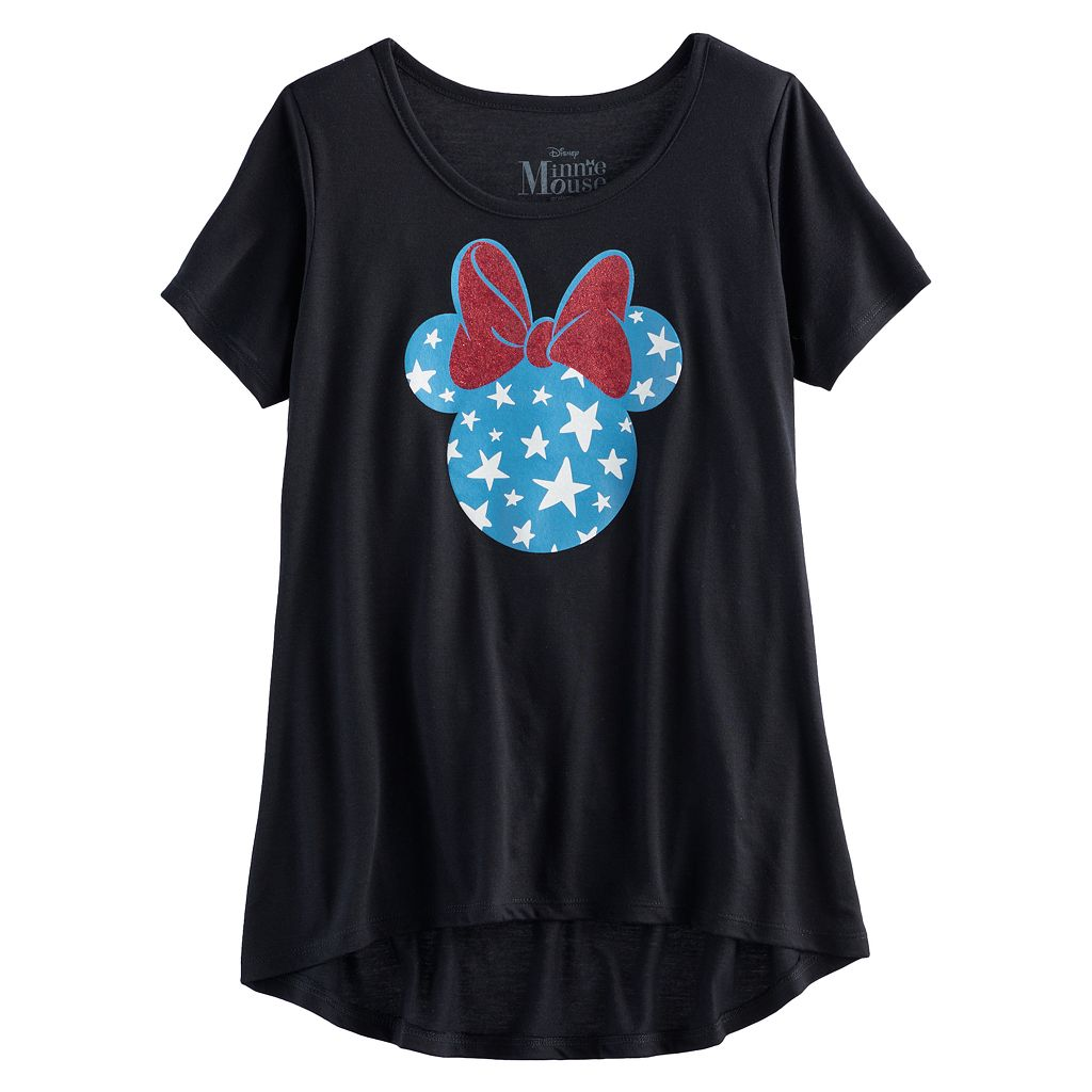 Disney's Minnie Mouse Girls 7-16 Glitter High-Low Americana Tee