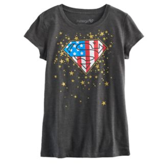 Girls 7-16 DC Comics Superman Logo Glitter Star Americana Graphic Tee