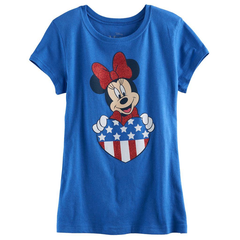 Disney's Minnie Mouse Girls 7-16 Glitter Heart Americana Tee