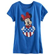 Disney's Minnie Mouse Girls 7-16 Glitter Heart Americana Tee